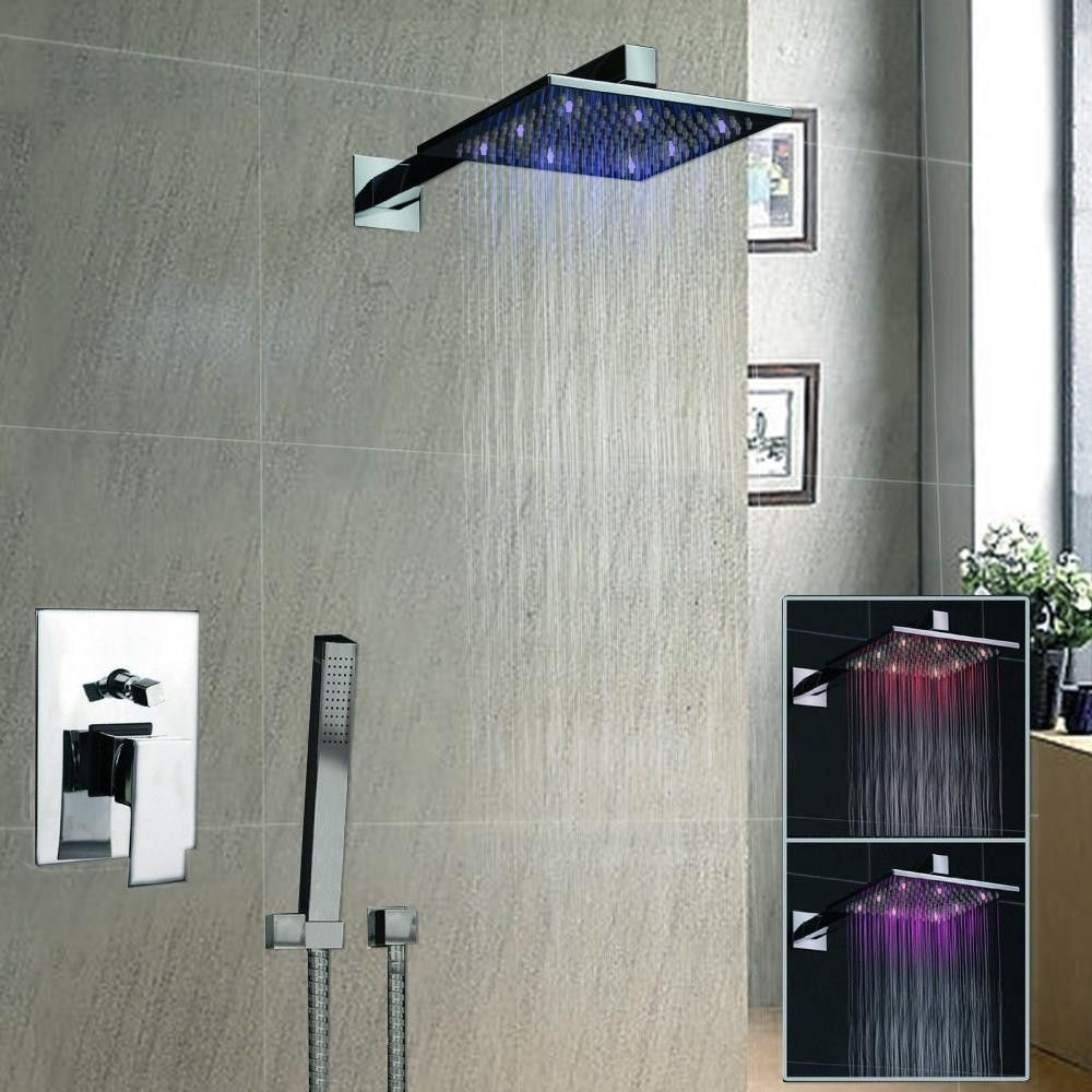 luxury  square led rainfall shower head bathroom rainfall shower  - luxury  square led rainfall shower head bathroom rainfall shower faucetshower vanity faucet contemporary