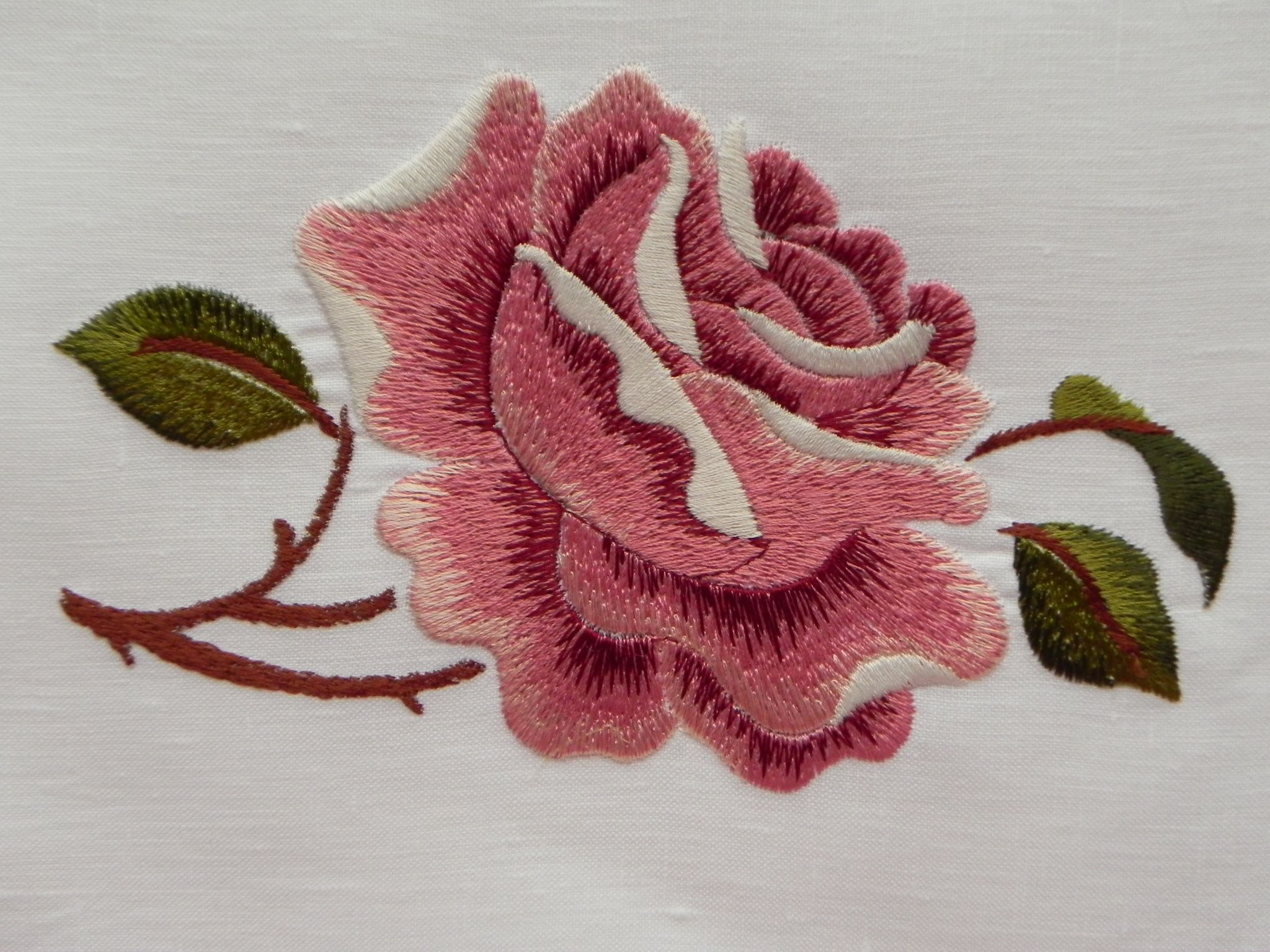 Machine embroidery satin stitch rose