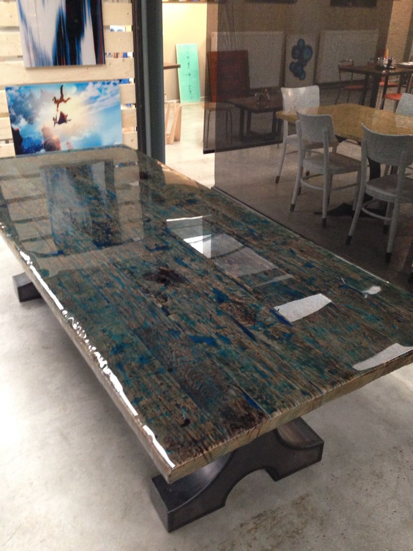 Reclaimed wood with ocean blue colour coating we love our work