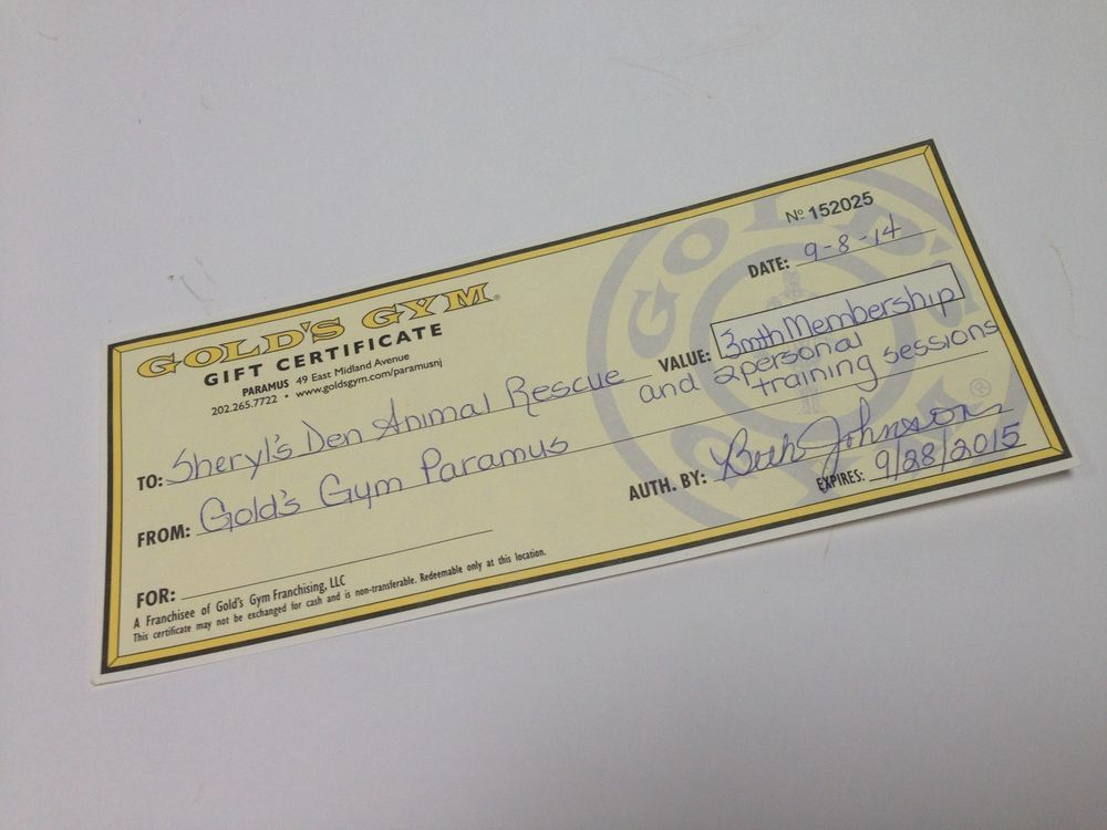 Golds Gym Gift Certificate 3 Month Membership With 2 Personal