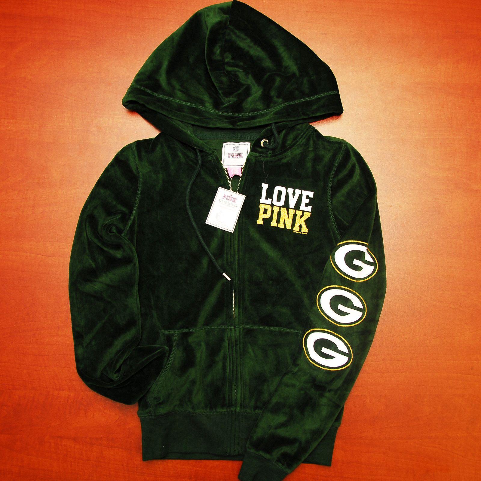 Victoria's Secret PINK Green Bay Packer velour hoodie.