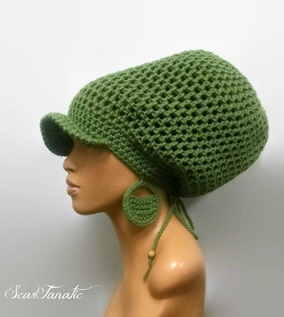 4d1e7525fae MADE TO ORDER Large Sage Green  Light Forest Crochet Slouch hat  Slouchy  Beanie  Dreadlock hat w dra