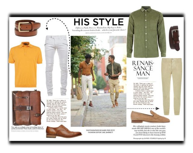 """""""ARS 96: His Style"""" by antonroberstyle on Polyvore featuring H&M, C.B. Made in Italy, Balmain, The Bridge, Club Room, Santoni, John Smedley, 7 For All Mankind, Topman and women's clothing"""