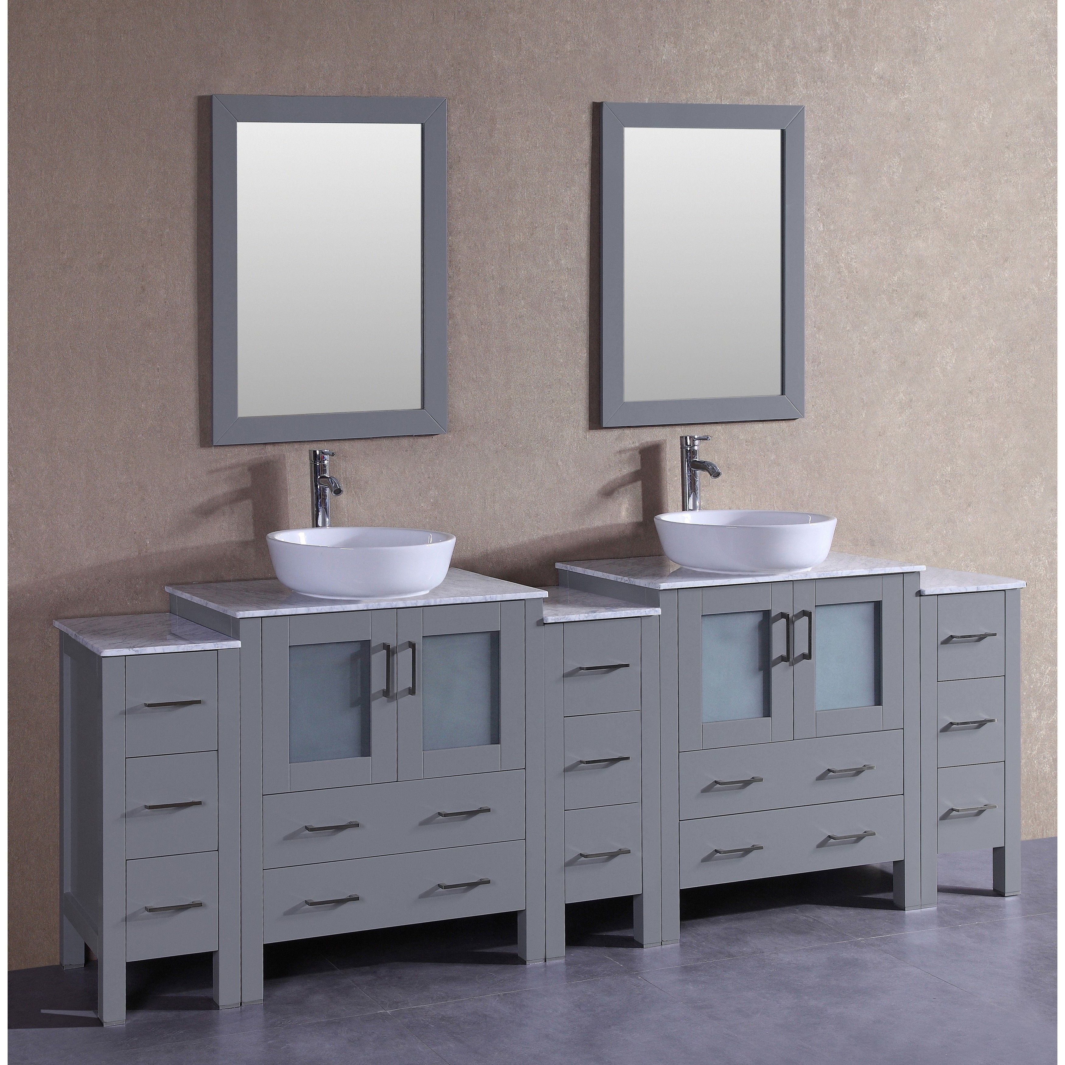 Bosconi 96 Inch Grey Double Vanity Set with White Marble Tops