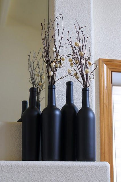wine bottle vases painted in chalk board spray paint