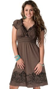Rock Roll Cowgirl Womens Brown And Black Lace Baby Doll
