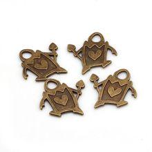 Antique Bronze Métal Coeurs Garde Pendentif Charmes pour les Bijoux Faisant DIY Belle Garde Pendentif Charmes 30 pcs 24*25mm C8447(China)