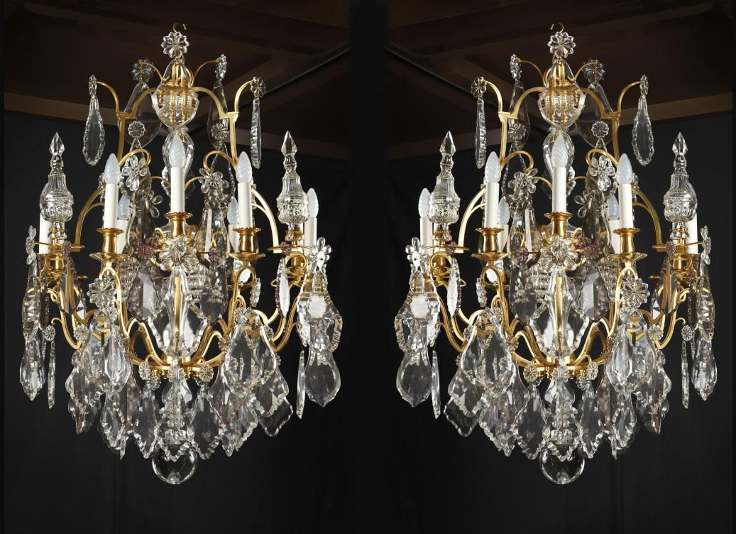 Paire De Lustres En Cristal Baccarat Xix Siècle Iluminacion