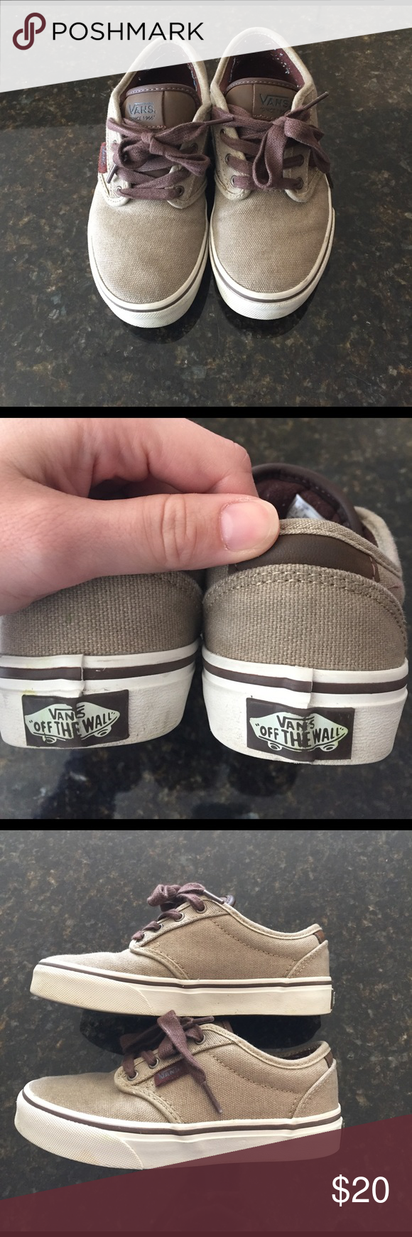 d5afea9b9b75a4 Tan canvas boys vans Tan and leather boys vans. Size 1 . Amazing condition.