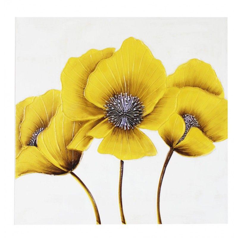 Yellow Flower Canvas Wall Art 80 x 80CM #Poppy #DressYourWalls ...