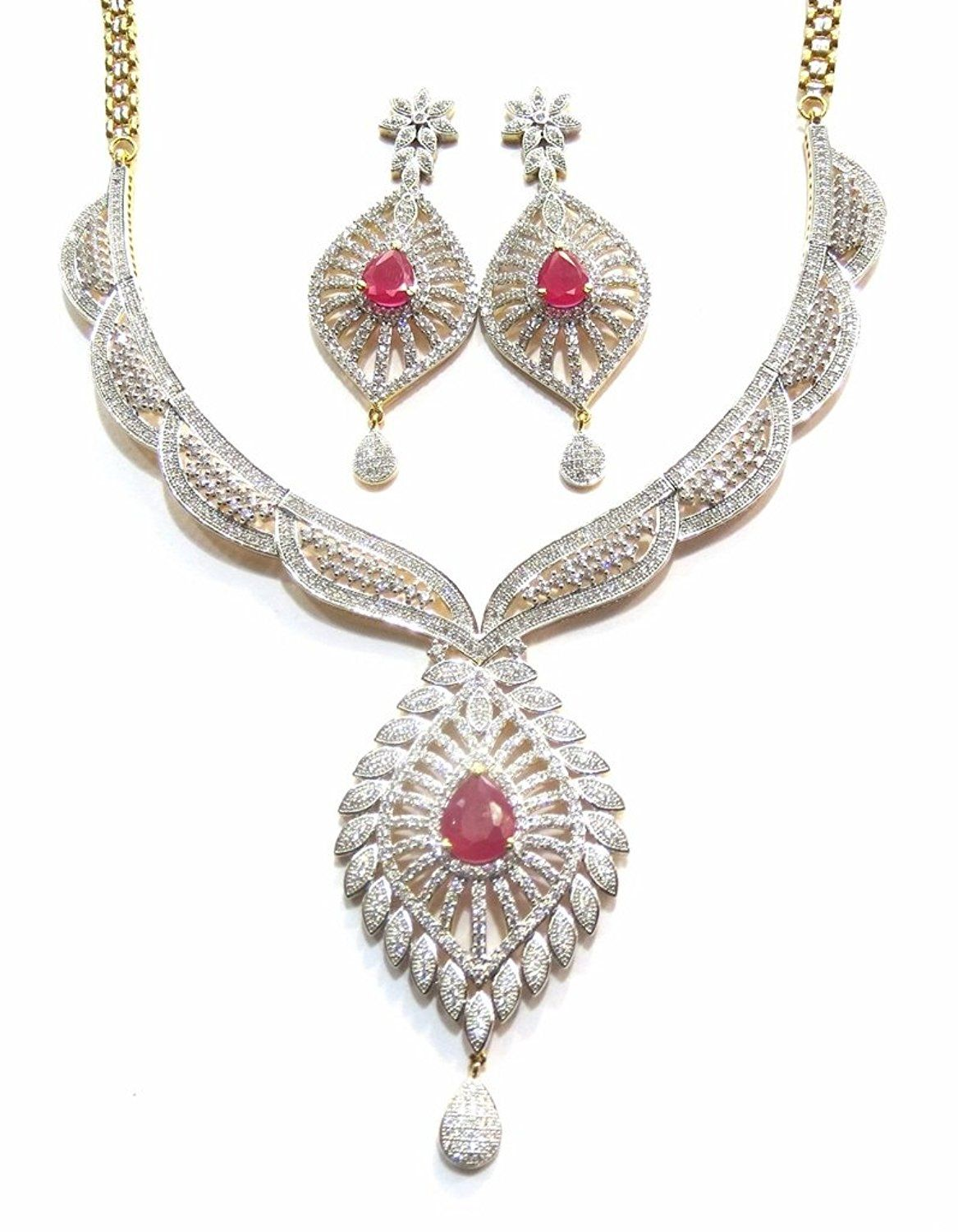 Jewelshingar jewellery cubic zirconias gold plated necklace set for