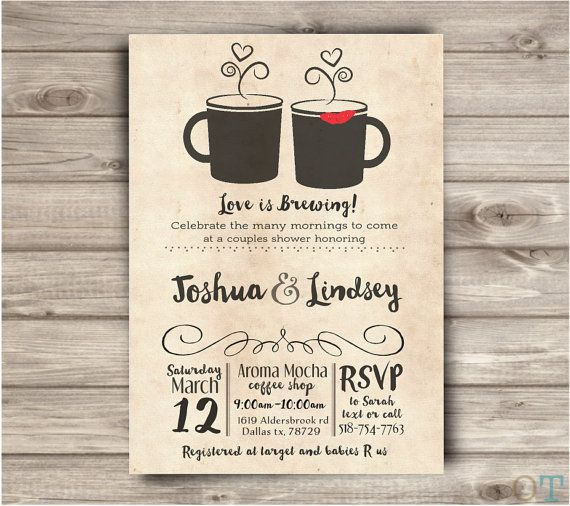 coffee shop wedding shower invitations rustic simple bridal couples open house shower digital download printable wedding
