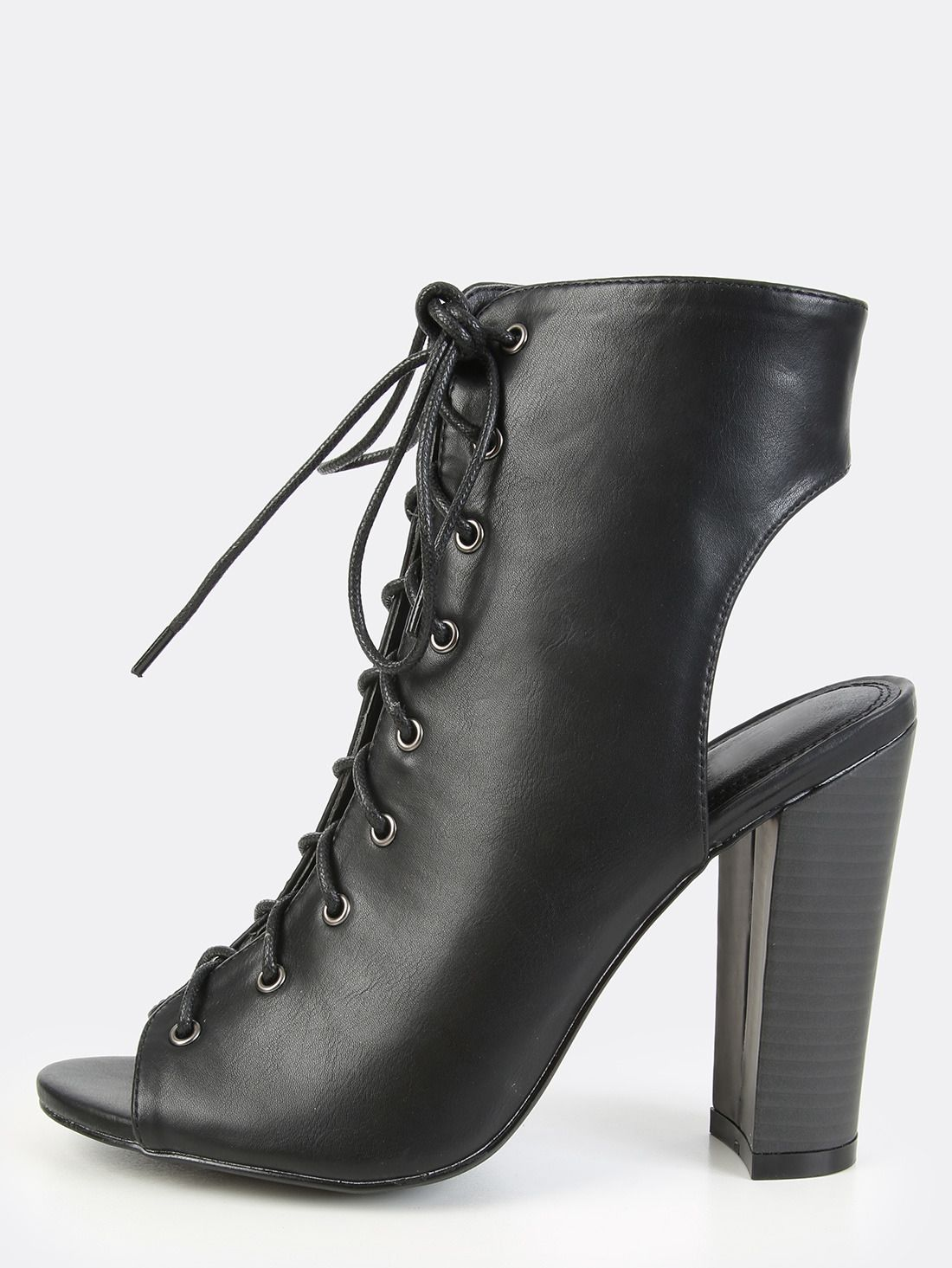 Stylish Black and White Peep Toe Lace Up Ankle Boots Online