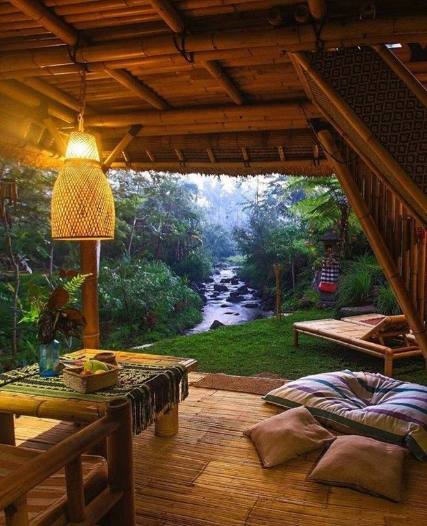 Https Www Reddit Com R Cozyplaces Comments 73jzu0 Tropical Grotto Yes Please Outdoor Patio Bamboo House