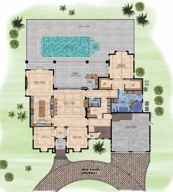 Planes de la casa de estilo Costeras - 4335 pies cuadrados de construcción Home, de 2 pisos, 4 dormitorios y 4 3 Baños, 2 Garaje puestos por planes de vivienda del monstruo - Plan de 82-119