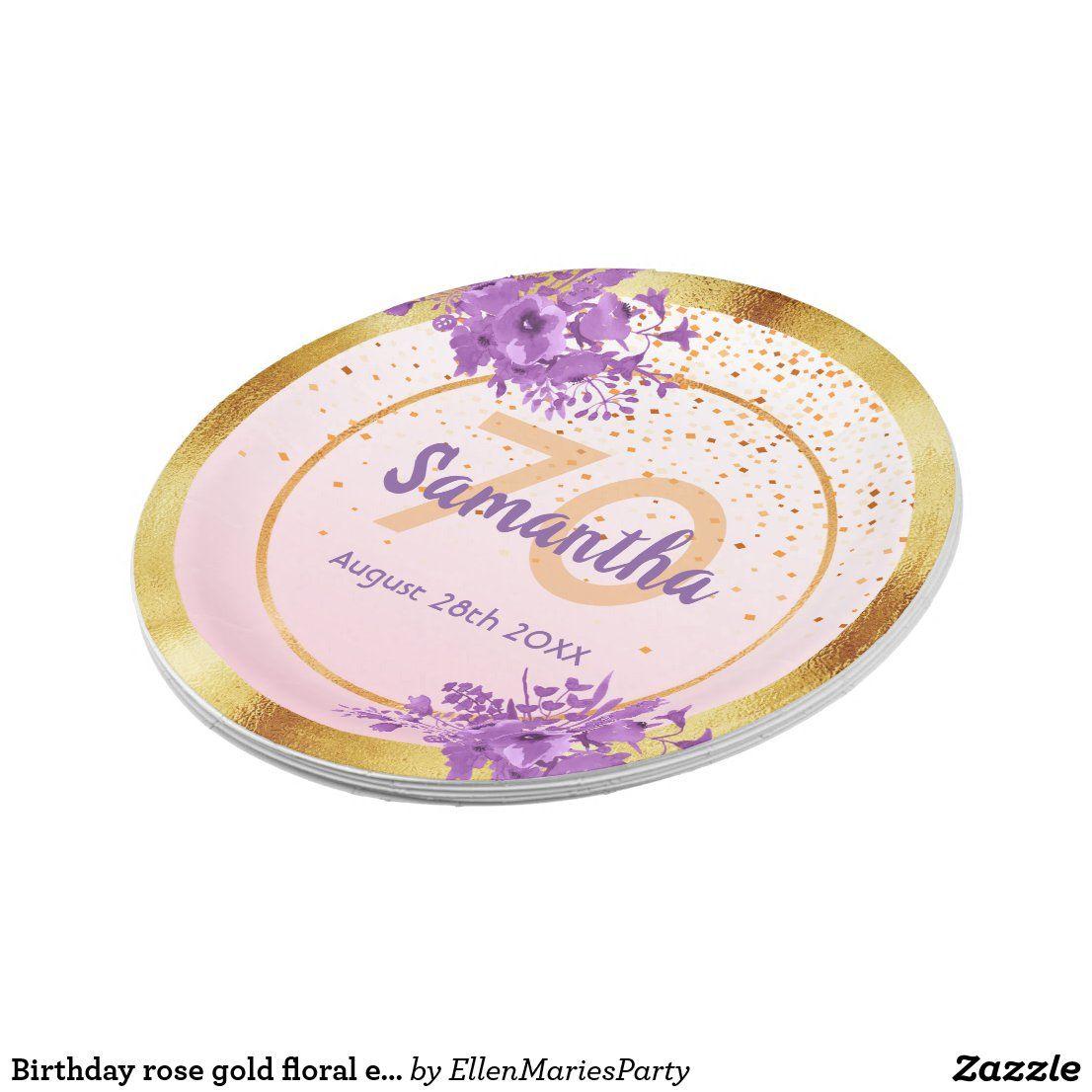 Birthday rose gold floral elegant name paper plate