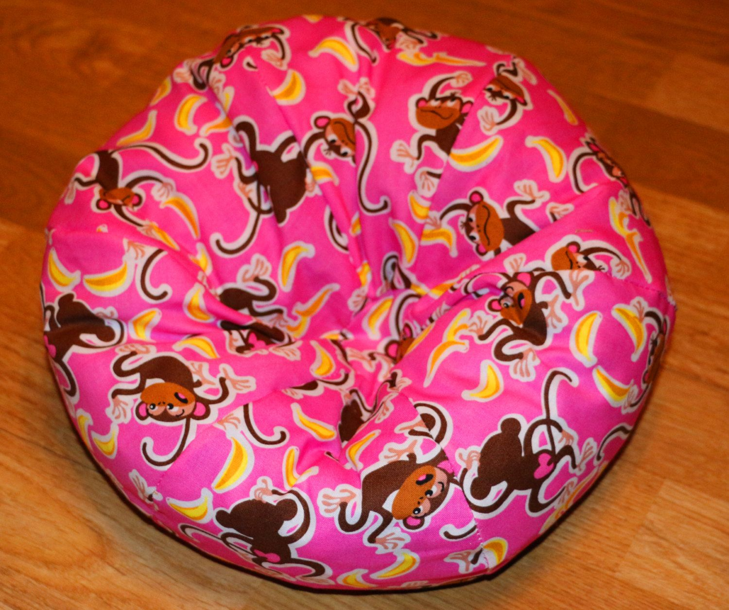 American Girl Size Bean Bag Chair In Pink With Monkeys Fabric For 18 Dolls