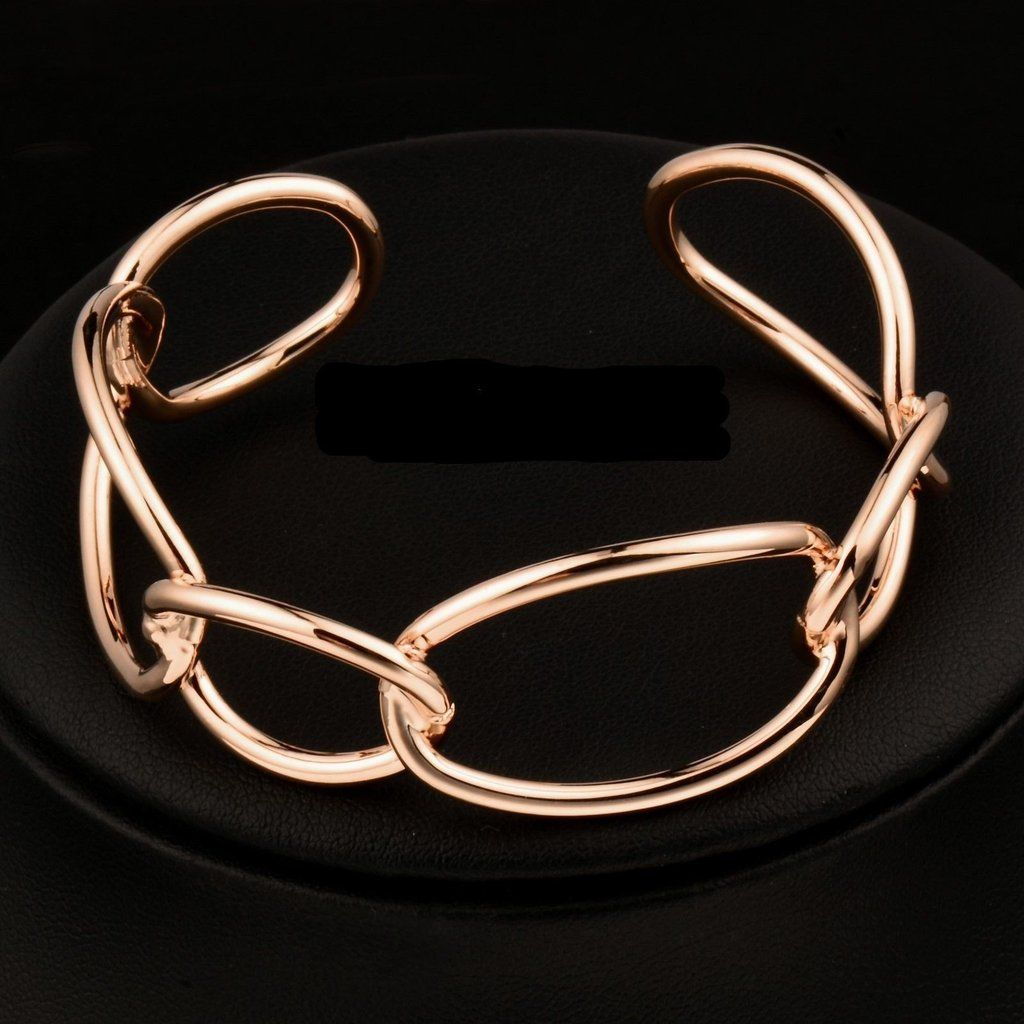 Women's Wide Link Rose Gold Cuff/Bangle Bracelet