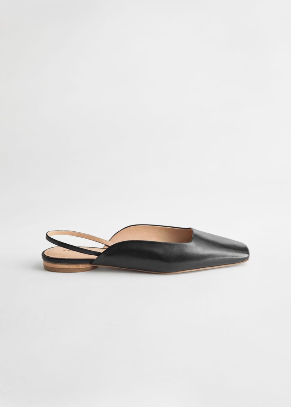Leather Square Toe Ballerina Flats in 2020 | Black flats