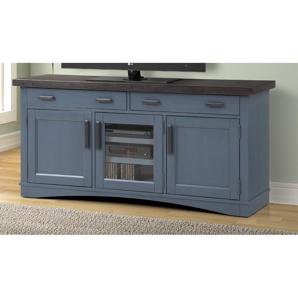 Parker House Americana Modern 63 Quot Tv Stand Console Power Denim Blue Wood Blue Tv Stand Tv Stand Console