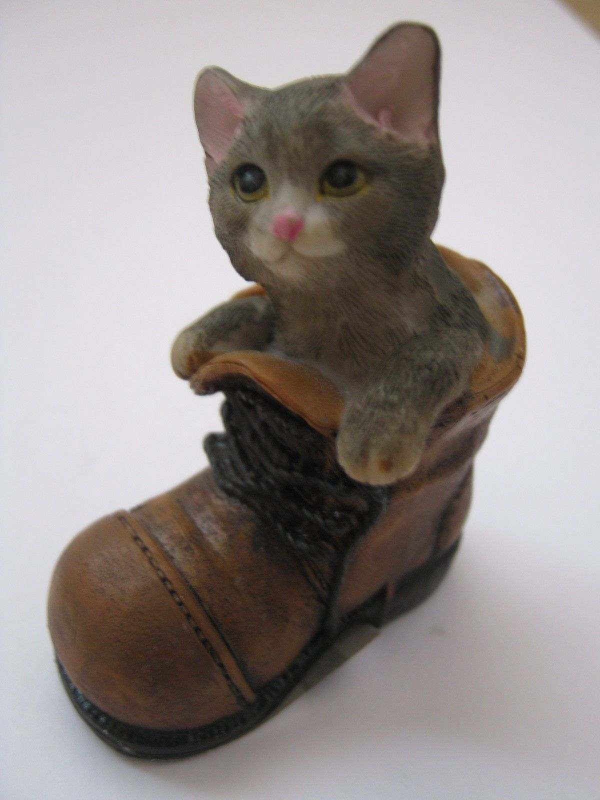 Little Catkitten In A Boot Cute Figurine Ginger, Black &