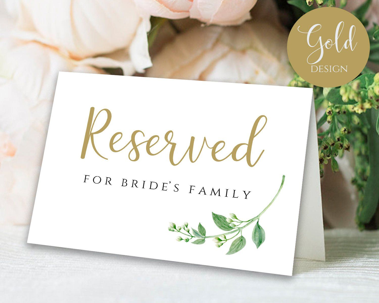 Gold Reserved Sign Reserved Printable Reserved Wedding Sign Reserved Table Sign Wedding Printable Wedding T Reserved Wedding Signs Wedding Signs Reserved Signs