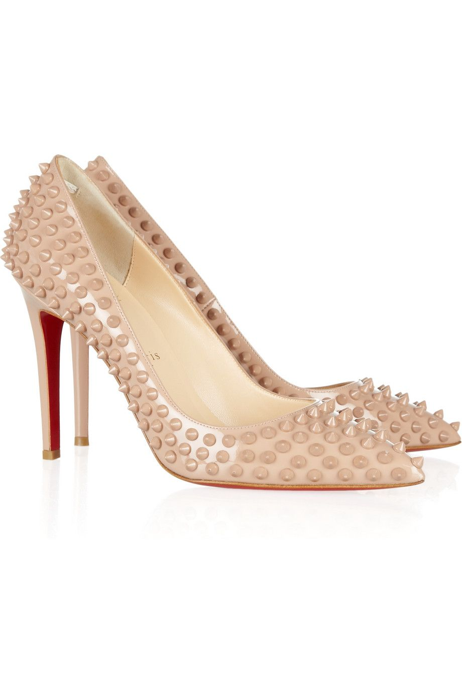 Christian Louboutin Pigalle 100 Spiked Patent Leather Pumps at Net-A-Porter  These edgy nude pumps by Christian Louboutin feature nude spikes and a  pointed