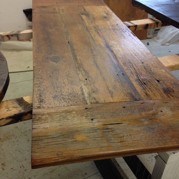 Custom Made Desk Top Reclaimed Wood Natural Finish X Bread - Custom made wood table tops