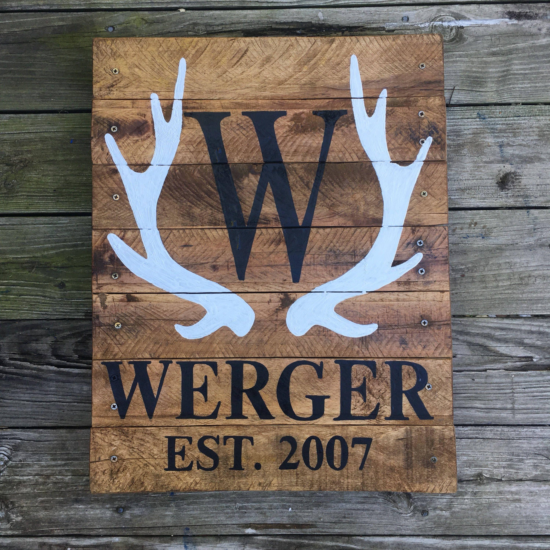 Antler Family Established Wooden Painted Pallet Sign Deer Hunting Home Decor Wedding Engagement Customgift