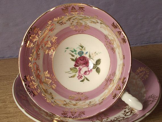 antique pink tea cup and saucer set pink red rose by ShoponSherman, $35.00