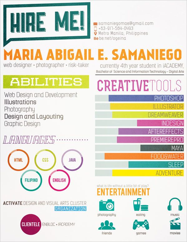 Simple Colourful Resume Design 10 Interesting & Simple Resume
