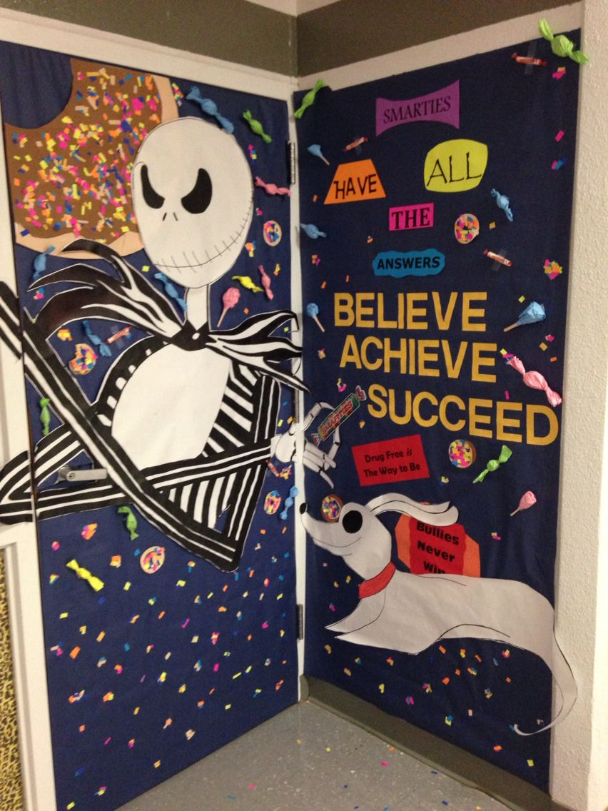 Red ribbon week door decorating, drug free slogans ...