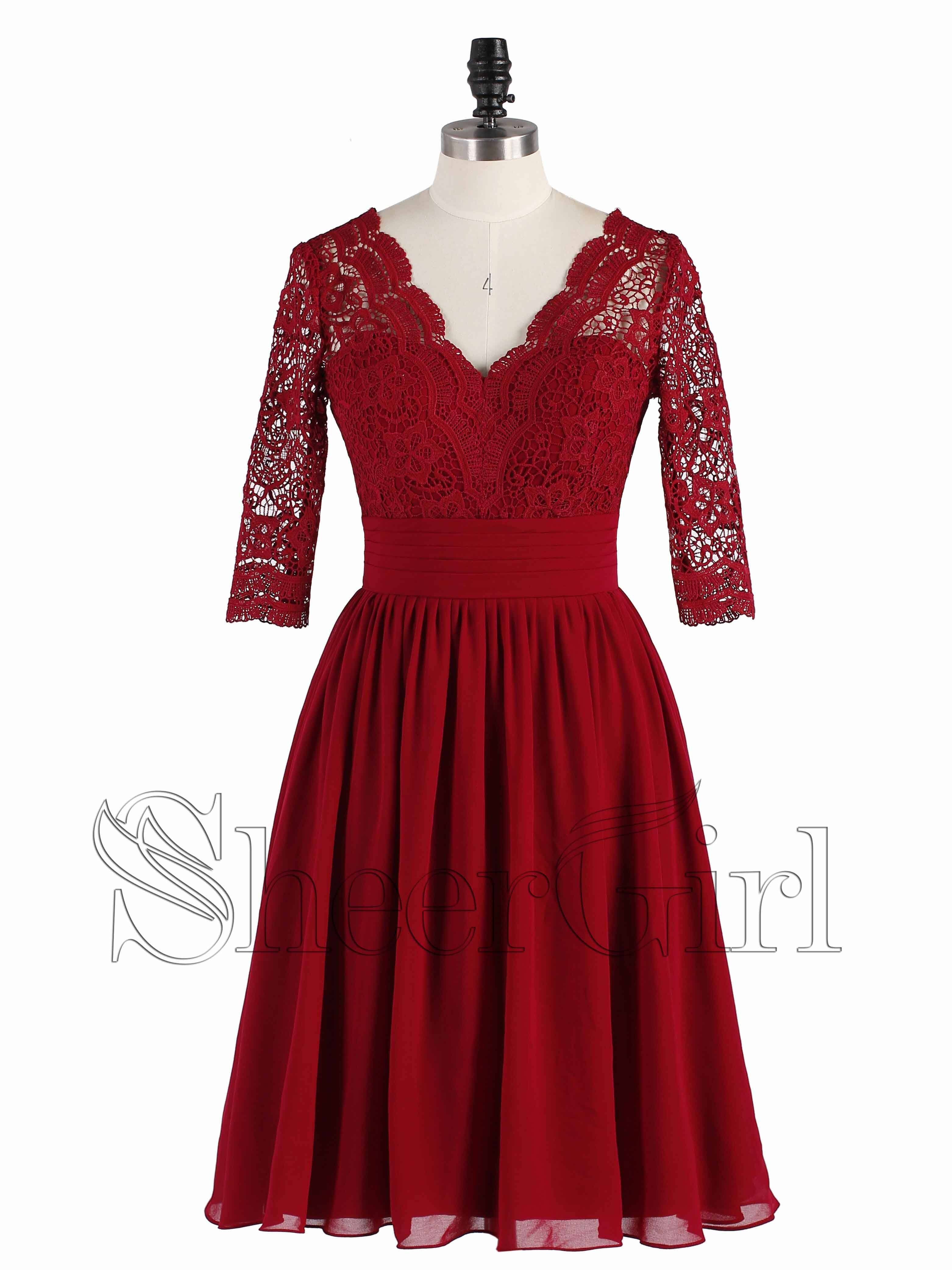 Half sleeve dark red short bridesmaid dresses lace top cheap