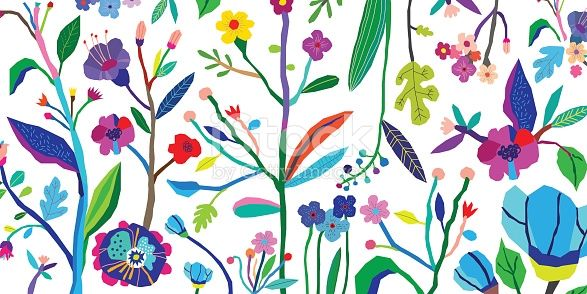 Horizontal Banner With Beautiful Flowers Vector Floral Header And