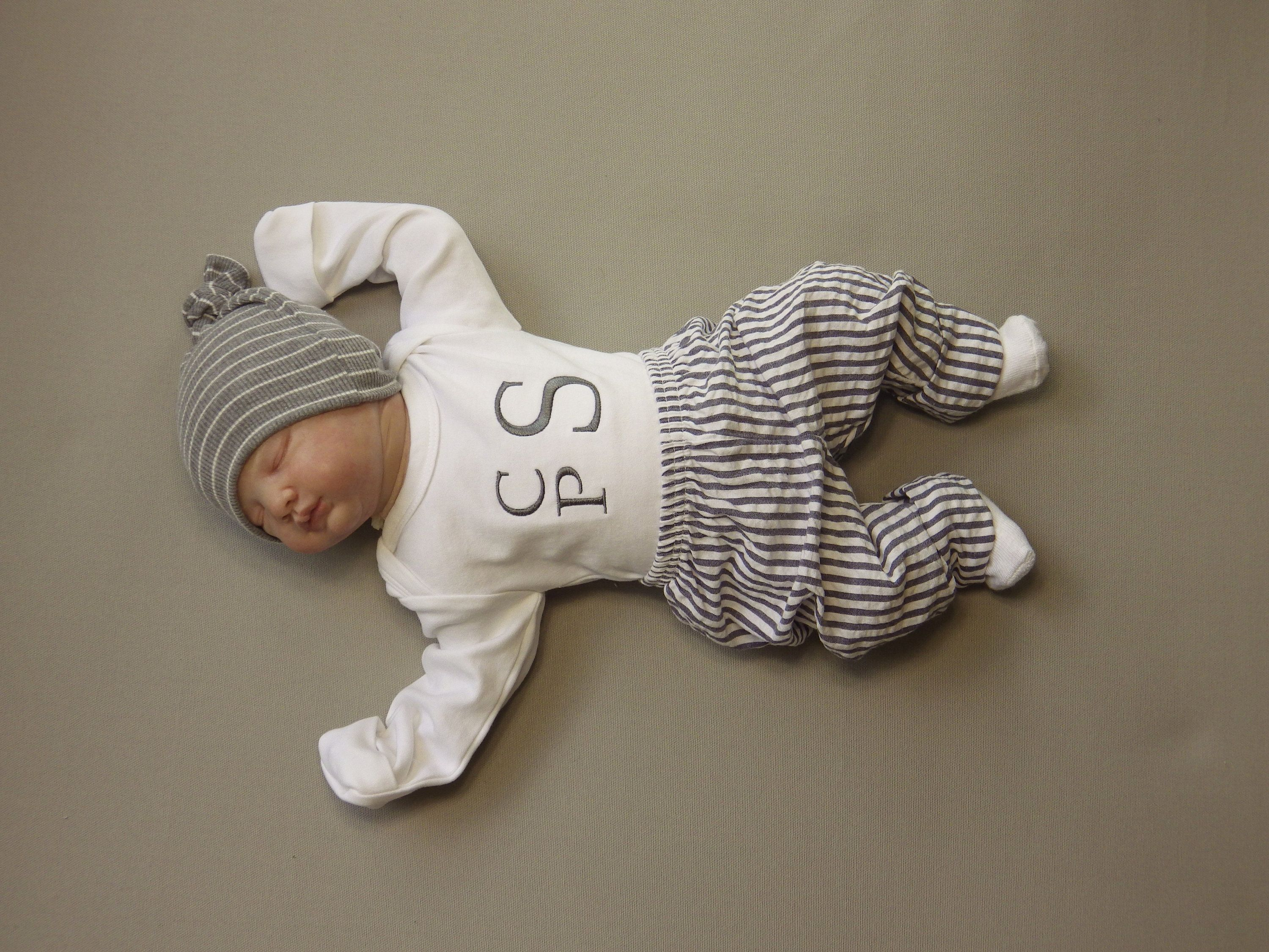 Pants with Seersucker cuff Newborn Baby Boy Outfit Coming Home from Hospital Newborn Boy Coming Home from the Hospital Monogram Bodysuit