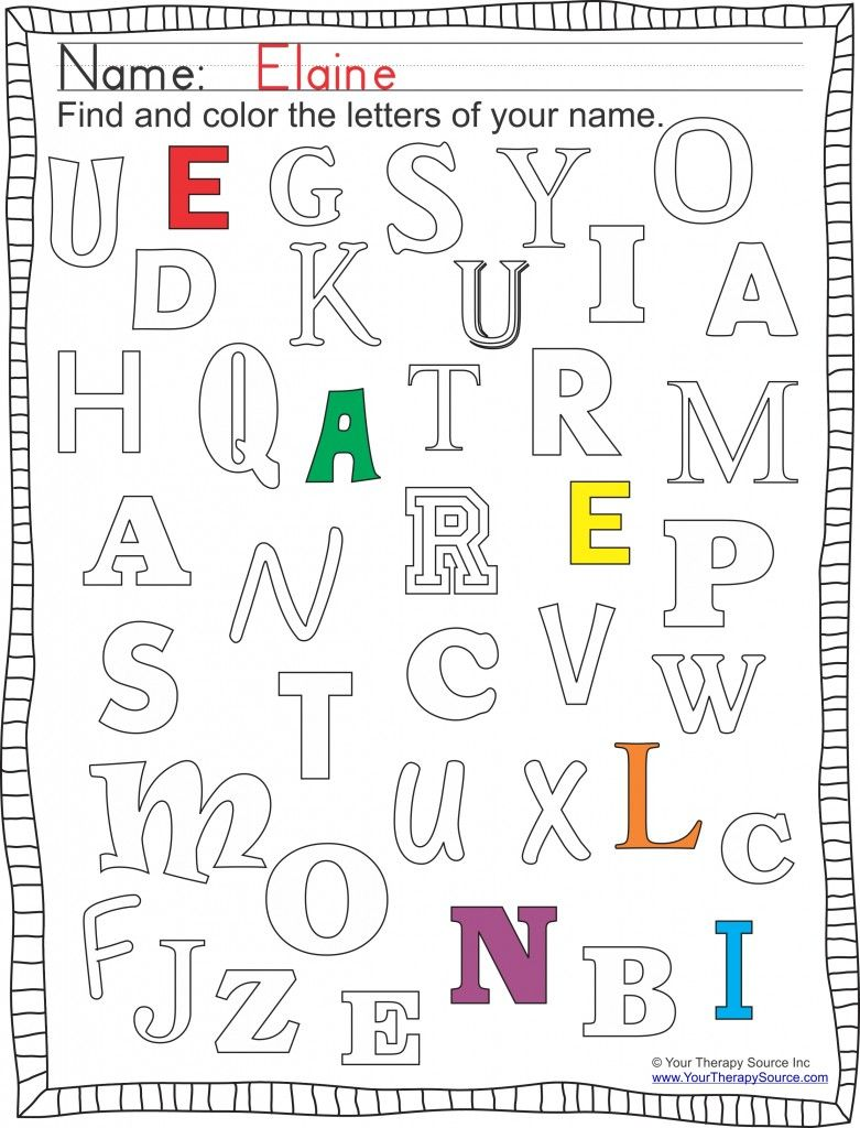Www Yourtherapysource Com New Printable Find And Color Your Name Preschool Names Name Activities Preschool Writing [ 1024 x 781 Pixel ]