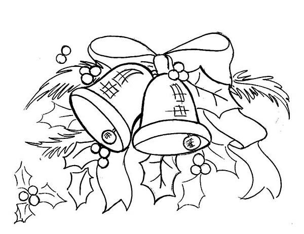 Christmas  Beautiful Christmas bell Ornament Coloring Page