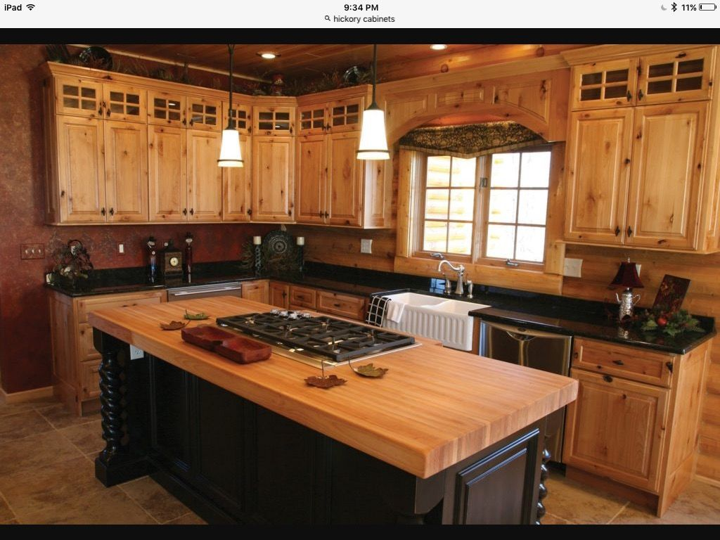 Pin By Grossin On My Treasure Idea S Log Home Kitchens Pine Kitchen Cabinets Hickory Kitchen Cabinets