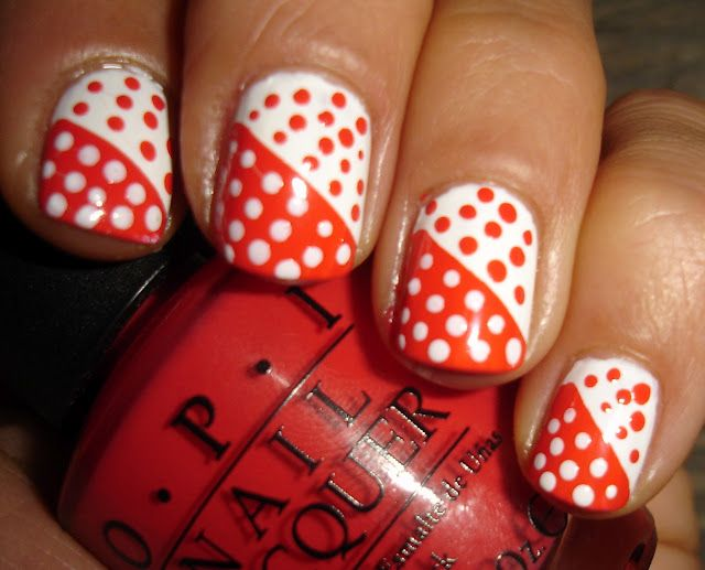 OPI - red and white nails
