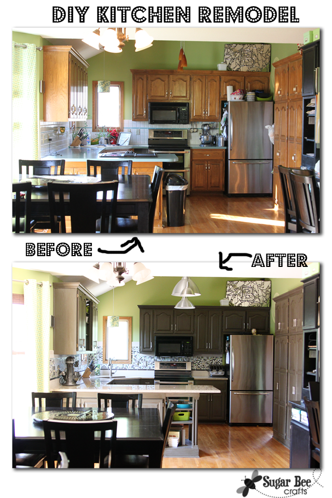 DIY Kitchen Remodel   Oak Cabinets To Painted Gray   Mosaic Tile Backsplash  With Tile Border