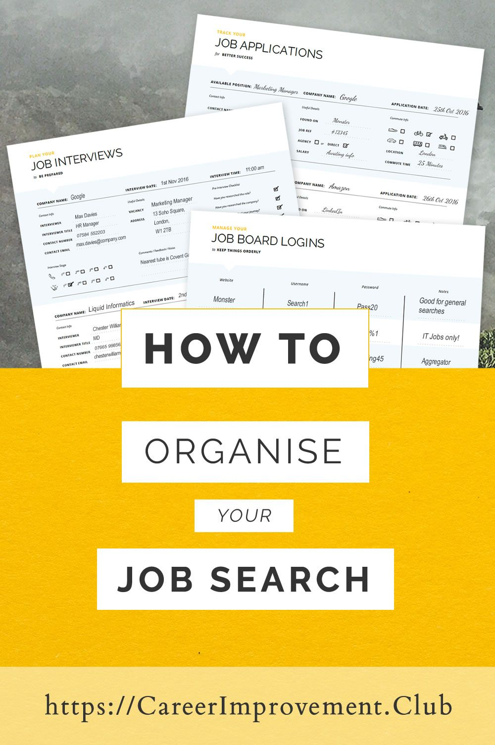 Job Search Planner Job Search Organiser 3 Printable Planners Letter A4 A5 Instant Download Bonus Excel Spreadsheets Included The Career Improvemen Job Search Motivation Job Search Tips Job Search