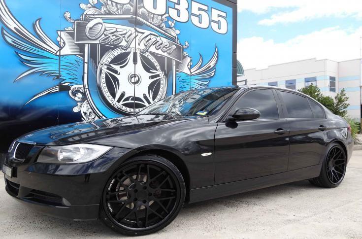 Bmw 328i With Vertini Magic Black Mag Wheels Ozzy Tyres Bmw Bmw 328i Black Wheels