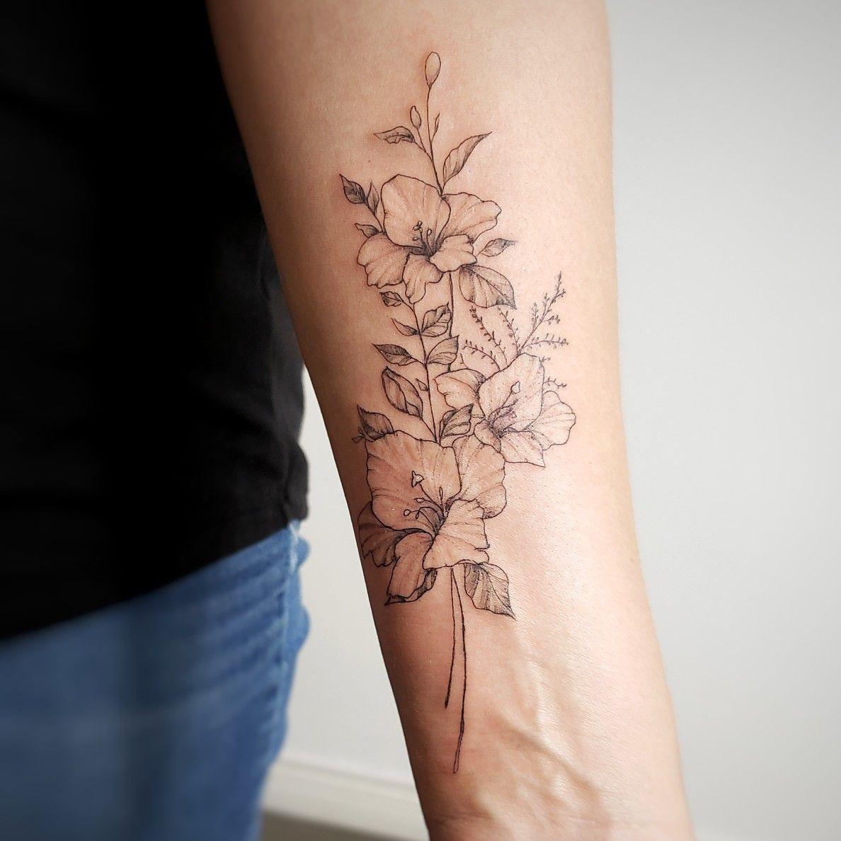 Gladiolus tattoo floral arm tattoo forearm flower