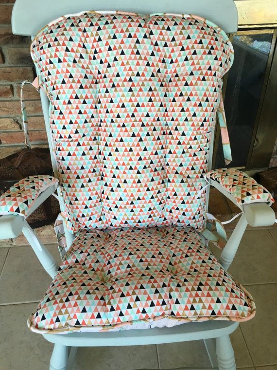Mint Coral Gold Arrowhead Rocking Chair By Mayberryandmain