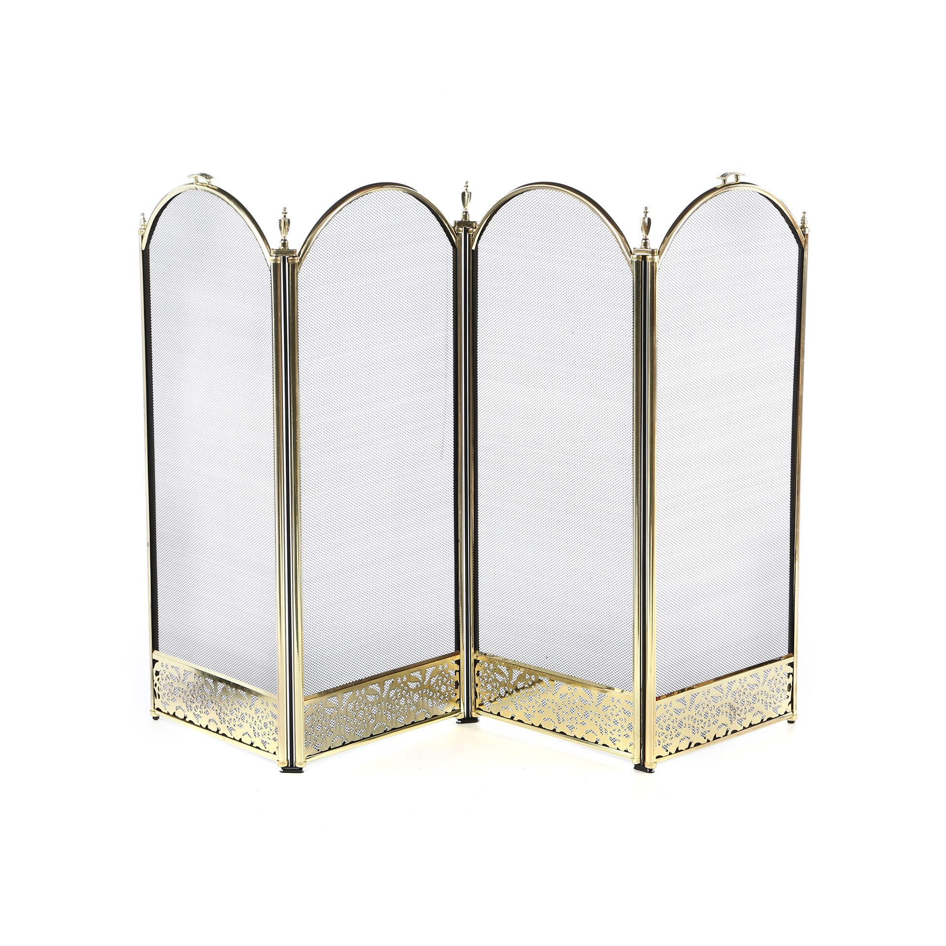 4 panel brass fireplace screen with decorative filigree products
