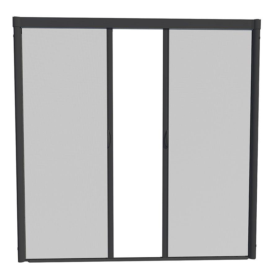 Larson Escape Black Aluminum Retractable Curtain Screen Door Common 84 In X 81 In Actual 8 Aluminum Screen Doors Retractable Screen Retractable Screen Door