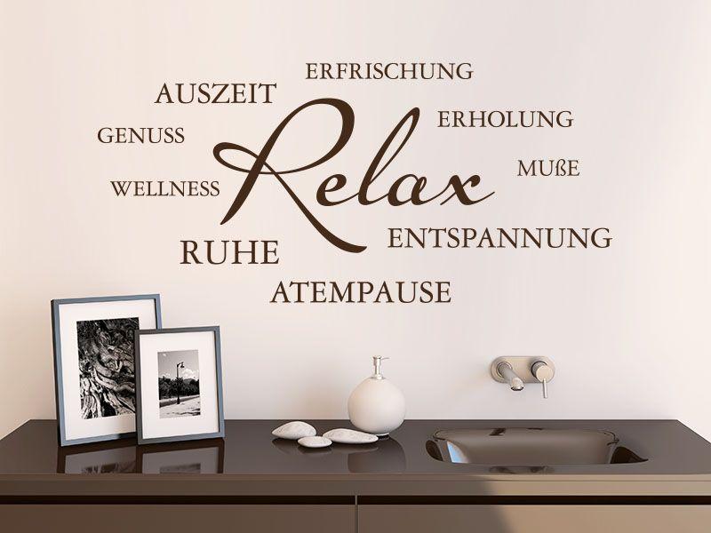 Mit dem Wandtattoo Relax Wortwolke mit zahlreichen Begriffen und - wandtattoo für badezimmer