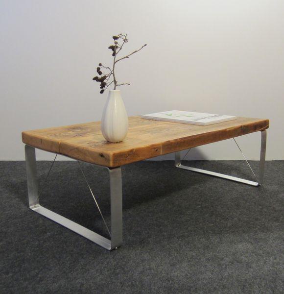 couchtisch aus ger stbohlen und aluminium von faltwerk auf living. Black Bedroom Furniture Sets. Home Design Ideas