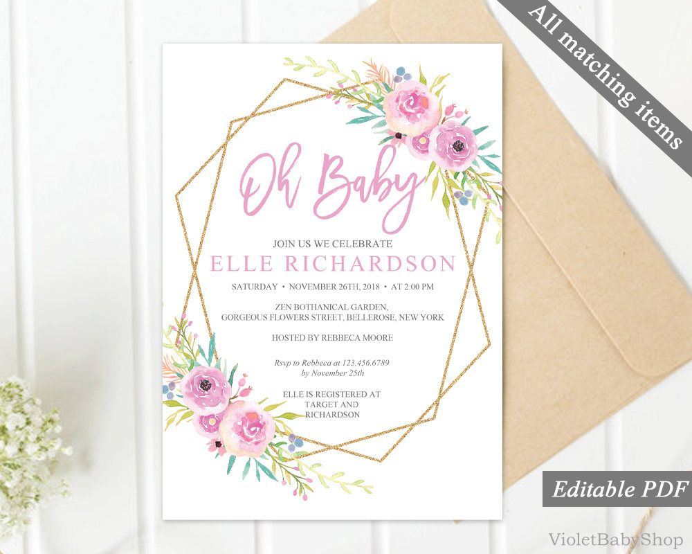 fuscia pink baby shower invitation template printable floral baby