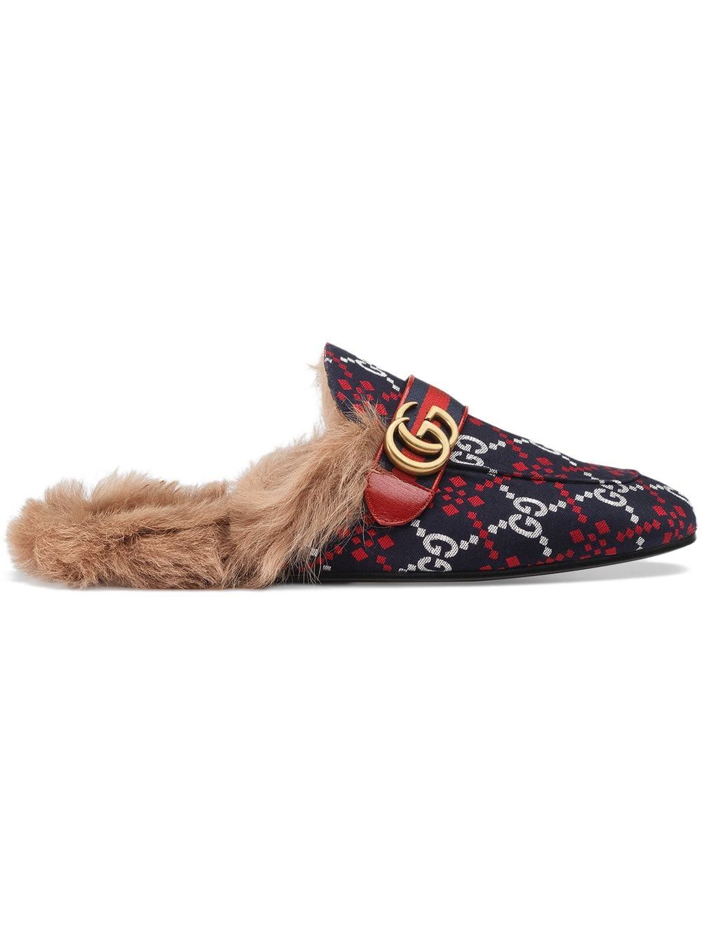 cf48030022 GUCCI GUCCI PRINCETOWN GG DIAMOND SLIPPERS - BLUE. #gucci #shoes ...